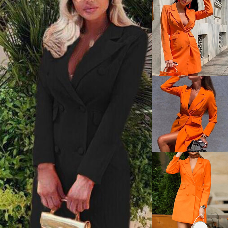 Newly Women Elegant Suit Coat Long Sleeve Double Breasted V Neck Formal Dresses Fall Winter FIF66