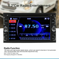 Car Stereo Radio DVD Player CD 6.2 Touch Screen BT 2DIN + Rear Rear Camera Car DVD Player Remote Controller