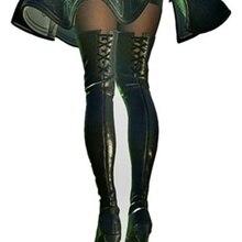 Для НИР автоматов 2B YoRHa № 2 Тип B Косплэй костюм из телепередачи мастера меча онлайн; обувь; ботинки повязки Обувь на высоком каблуке черного цвета выше колена; Соблазнительные кожаные ботинки