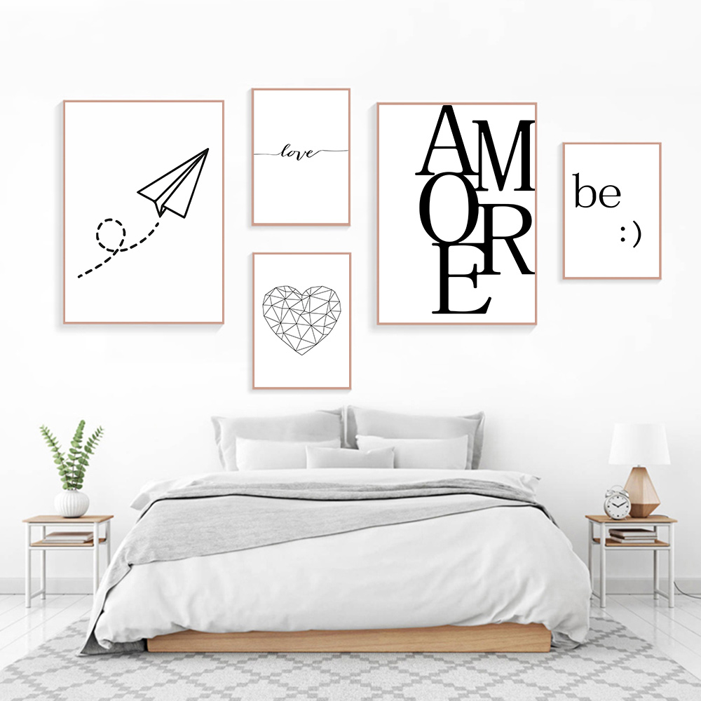Quotes Posters and Prints Nordic Love Poster Aircraft Canvas Heart Art Minimalist Living Room Unframed