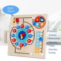 Juguetes Montessori para niños de 3 a 4 años, calendario de madera, reloj de aprendizaje, regalos educativos para niños y niñas