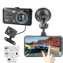 """Oto DashCam araba dvrı 4 """"HD 1080P Video kaydedici kamera oto aksesuarları çift Lens dokunmatik ekran dikiz kamera Sensörü WDR"""