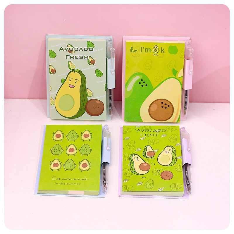 Kawaii Avocado Memo Pad Mini A7 Notepad With Pen Fruit Memo Sheets, Portable Notes Pad Office School Items New