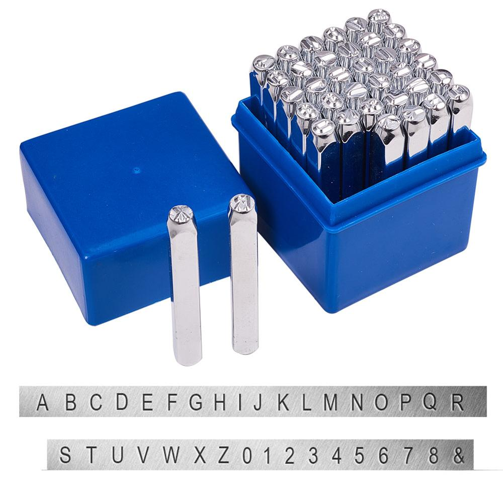 36pcs/Box Iron Seal Stamps Including Letter A~Z, Number 0~8 And Ampersand &, Platinum, 64x8x8mm