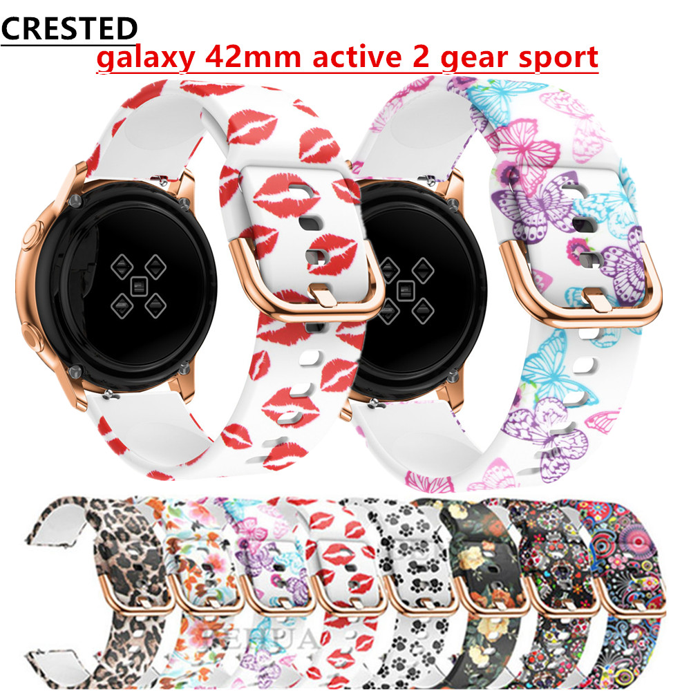 Active 2 <font><b>20mm</b></font> watch strap For Samsung Galaxy Watch active 2/42mm Gear S2/Sport <font><b>band</b></font> Printed <font><b>silicone</b></font> <font><b>bracelet</b></font> Amazfit bip 42 mm image