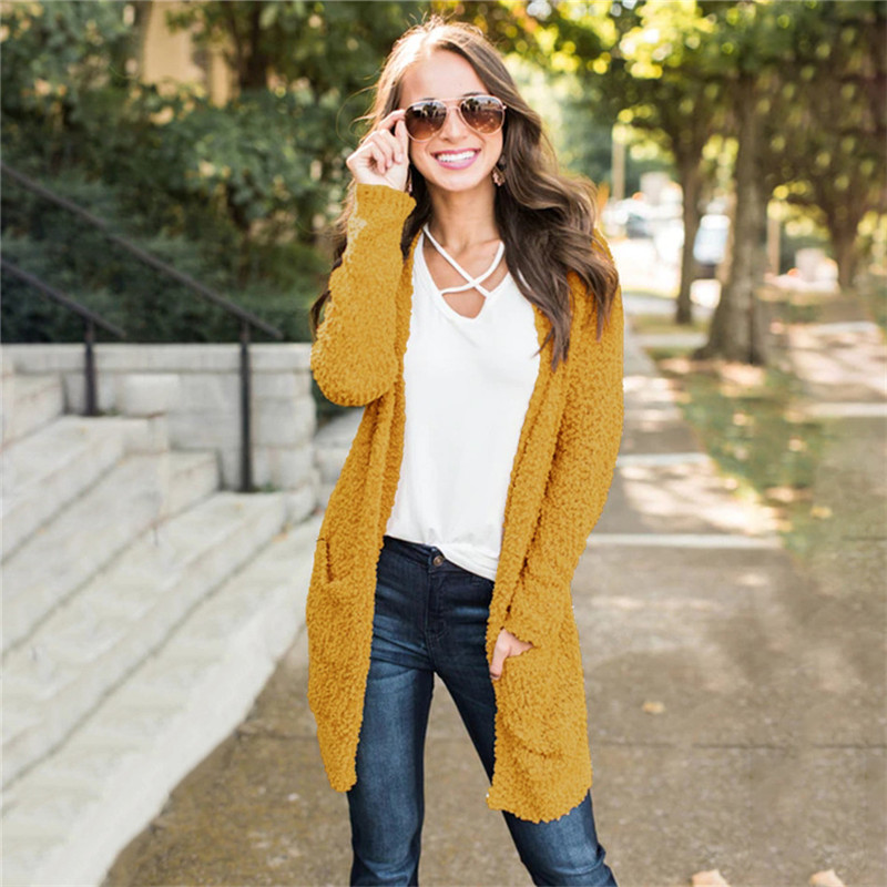 Women Sweater Cardigan Mujer 2019 New Long Sleeve Womens Winter Clothes Casual With Pocket