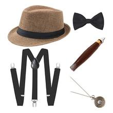1 Set Men Magician Costume Fancy Dress Up Hat Watch Bow Tie Suspender Outfit