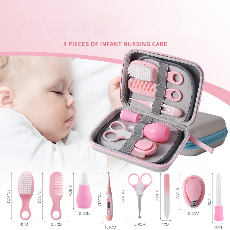 8Pcs/Set Newborn Baby Kids Nail Hair Health Care Thermometer Trimmer Cleaner Toothbrush Safety Tools  Grooming Brush Baby Care