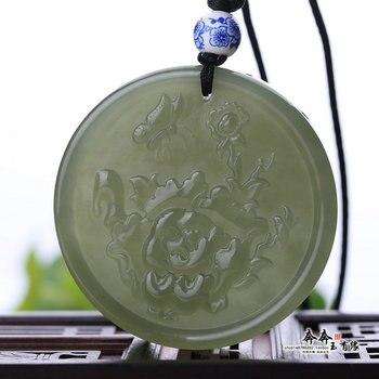 Natural green jade pendant hollow handcarved peony jadeite jade penants necklaces  jade jewelry jade necklace