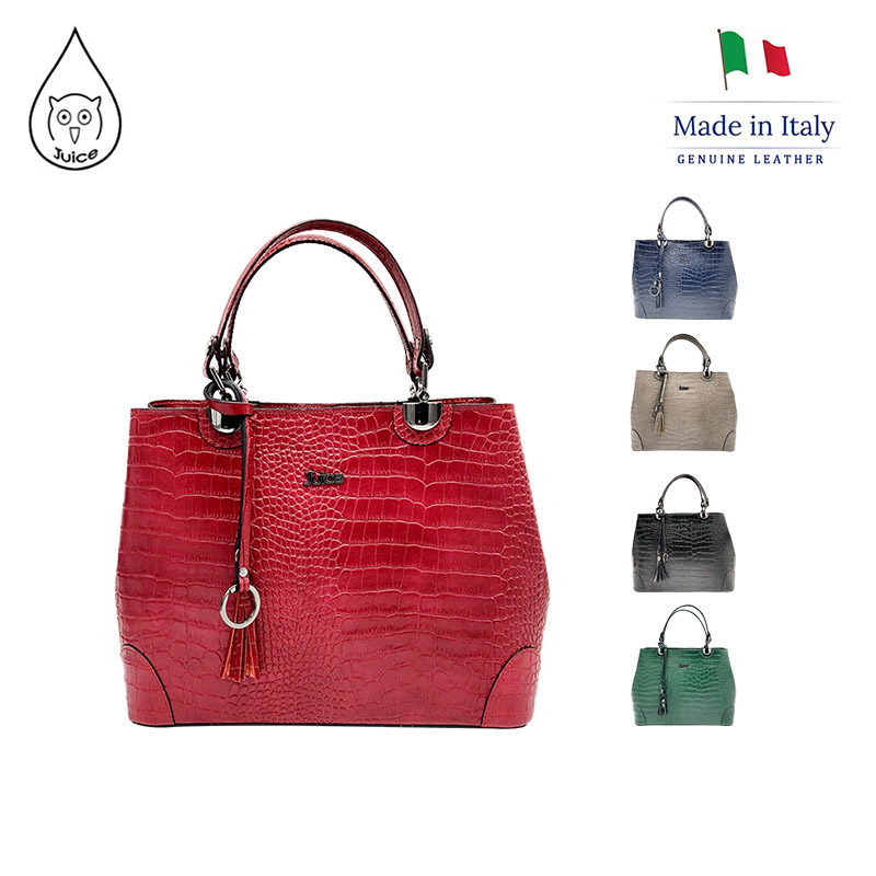 JUICE ,made In Italy, Genuine Leather, Women Bag,handbag,Cocco Print Leather 112178.412