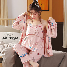 Autumn Long Sleeve Women Pajamas Set Fashion Big Size Print Homewear Pregnent Clothes Maternity Pant