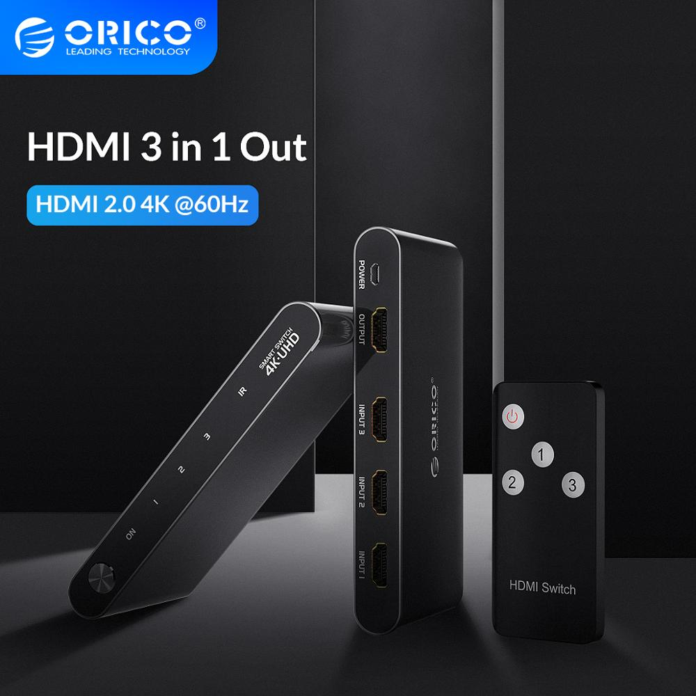 ORICO HDMI Splitter Switch 3 Port 4K HD 1 To 3 Port HDMI Switch Switcher Hub Splitter Infrared Remote Control For PS3 Gaming