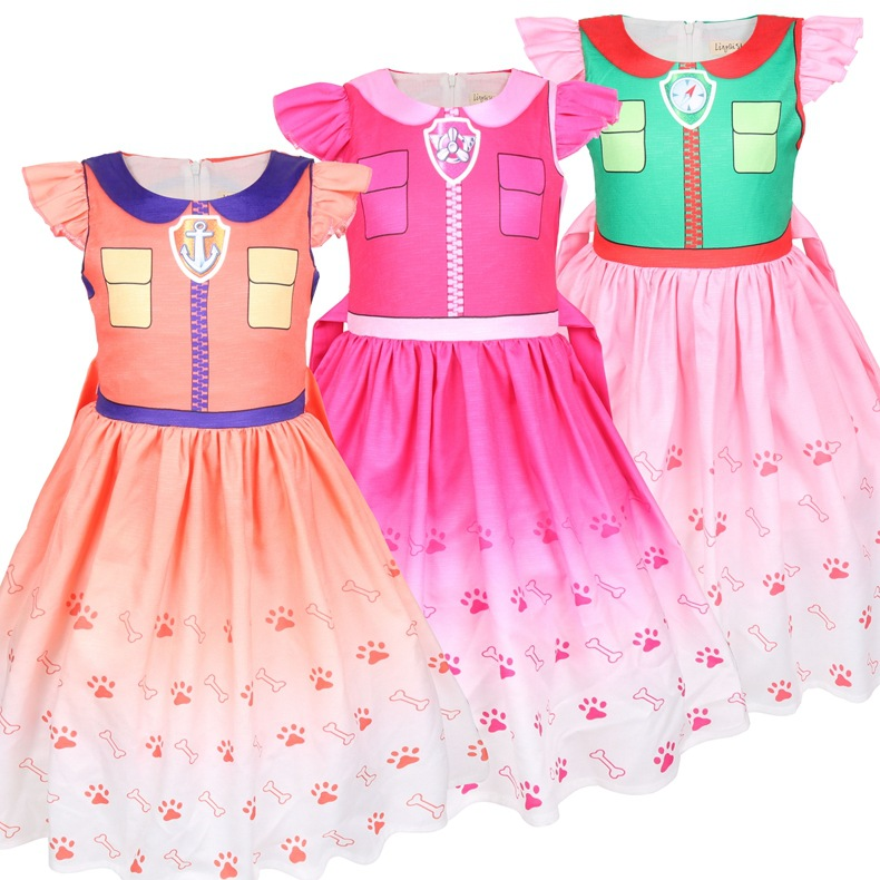 Kids Dresses For Girls Kids Carnival Clothing Patrol Dogs Princess Dress Cosplay Costume Girl Halloween Party Role Play Dresses