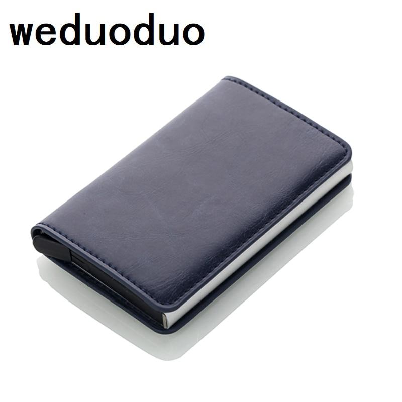 Antitheft Rfid Blocking Wallet Metal Credit Card Holder Automatic Elastic Vintage Aluminum Wallet PU Leather rfidwallet