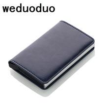 Anti-roubo rfid bloqueio carteira metal titular do cartão de crédito automático elástico do vintage carteira de alumínio couro do plutônio rfidwallet