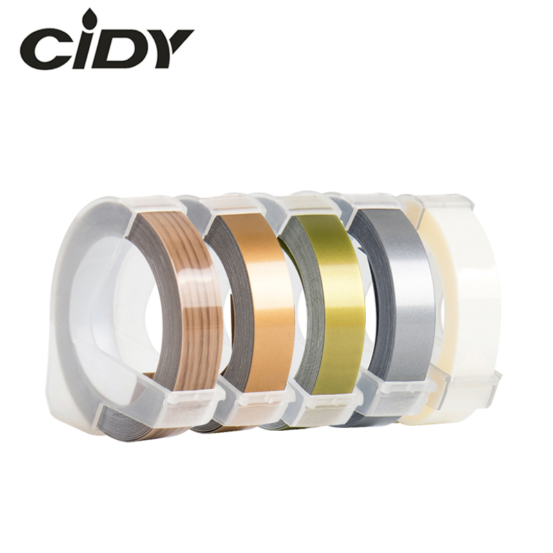 CIDY 5 Roll Mixed Color Compatible DYMO 3D Plastic Embossing Xpress Labels 9mm*3m For DYMO 1610/1575 Embossing Label Maker