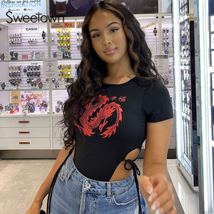 Sweetown Side Lace Up Slim Sexy Black Bodysuit Women Street Outfits Dragon Pattern Short sleeve Bodycon Body Mujer Short Rompers