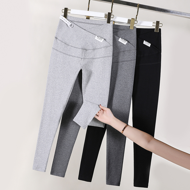 8832# 95% Cotton Across V Low Waist Belly Maternity Skinny Legging Adjustable Pants Clothes for Pregnant Women Spring Pregnancy