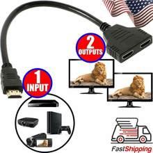 Divisor de HDMI-compatibl 1 Macho de Entrada Para Saída 2 Fêmea Porto Cabo Adaptador Conversor 1080P Para Jogos, Vídeos, Dispositivos de Multimídia