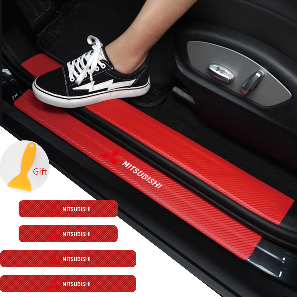 4 Stuks Auto Styling 3D Koolstofvezel Drempel Sticker Voor Mitsubishi Lancer 10 3 9 Ex Outlander 3 Asx L200 concurrentie Accessoires