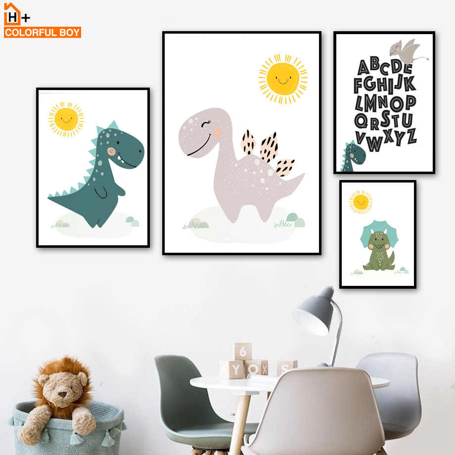 Baby Sunshine Dinosaur Cartoon Nordic Posters And Prints Wall Art Canvas Painting Print Wall Pictures For Kids Room Boy Bedroom