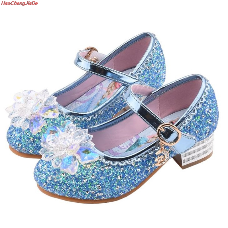 Cute Girls Crystal Shoes New Cartoon Princess High Heels Glass Children Pink Sky Blue Student High Heels Shoes 25-35 School