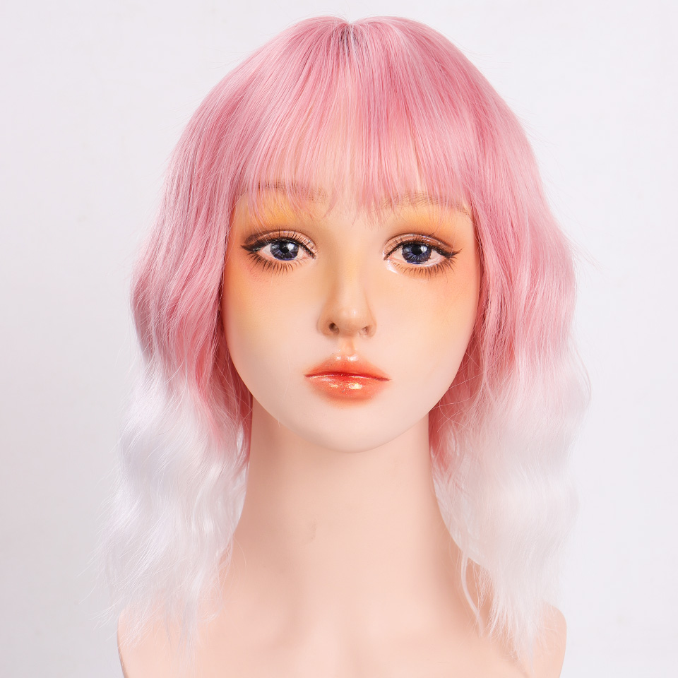 H0ba76962c53e445090459f1e357d12c7e - Short Water Wave Synthetic Hair Mixed Purple and pink Wigs Available Cosplay Wig For Women Heat Resistant Fiber Daily Bob Wig