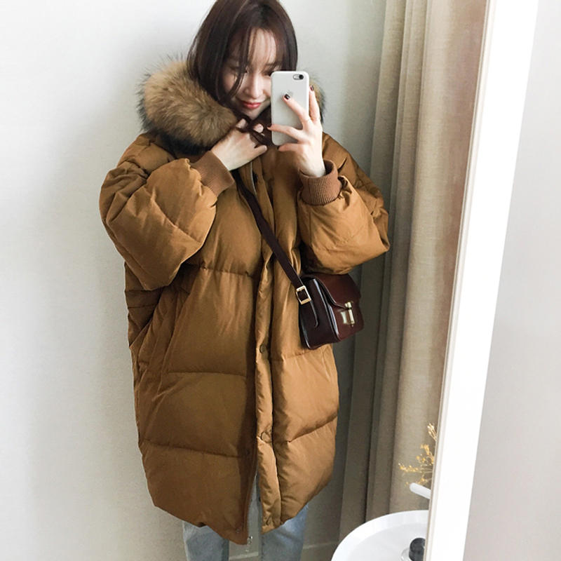 Down Cotton Coat Female Loose Hooded Long Sleeve Winter Jacket Women   Parka   Warm Thicken Oversize Women Winter Coat Padded Q1946
