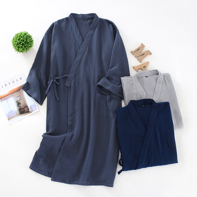 Spring And Summer Thin Men'S Kimono Cotton Crepe Men'S Nightgown Solid Nightdress And Large Size Yukata Sweat Steamed Clothes