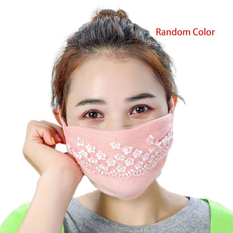 Women Girl Winter Thicken Warm Mouth Mask Floral Lace Anti Dust PM2.5 Respirator Random Color