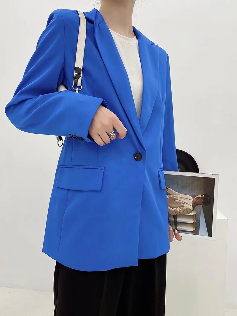 Autumn women's suit blue 2020 new solid color loose mid-length women's jacket Casual office Blazer Female