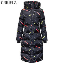 Lange Down Parka Slim Print Womens Winter Jas Jas Warme Herfst Jas Vrouwen Hooded Jas CRRIFLZ 2019 Nieuwe Winter Collectie(China)