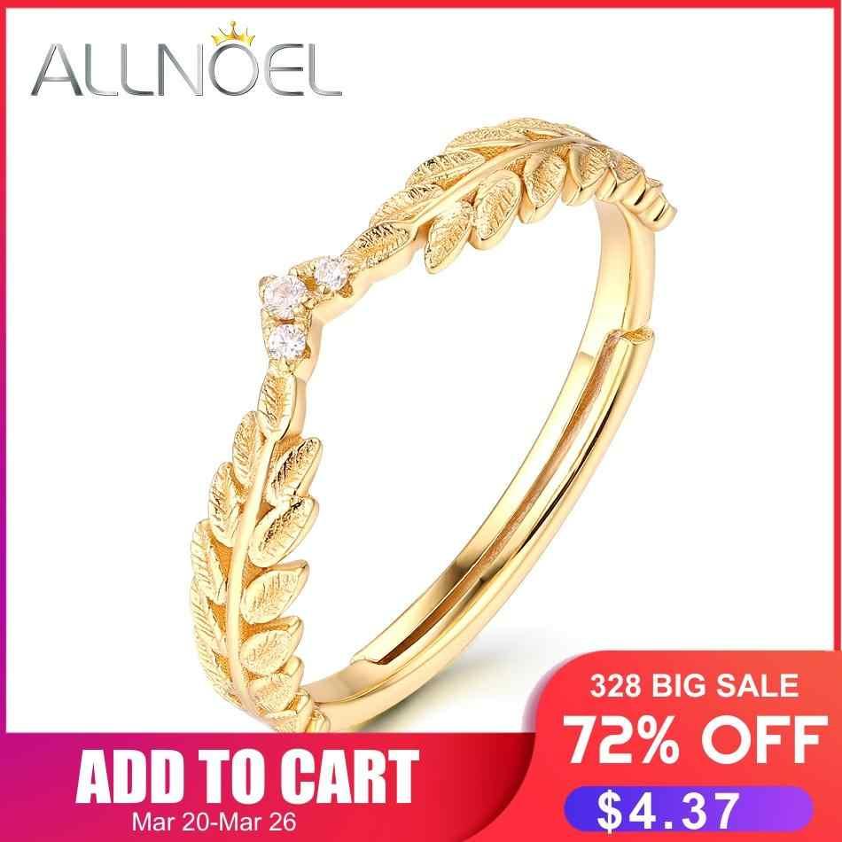ALLNOEL เงิน 925 เครื่องประดับแฟชั่นแหวนใบมะกอกจริง Gold Plated งานแต่งงานเครื่องประดับ Fine ขายส่งจำนวนมาก BULK แหวนอินเทรนด์