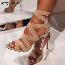peep toe high heels gladiator sandals women summer