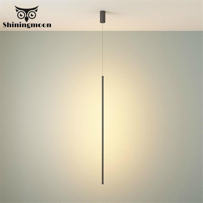 Işıklar ve Aydınlatma'ten Kolye ışıkları'de Iskandinav tasarımcı şerit kolye işıkları yatak odası başucu lambası modern Minimalist ev dekor kolye lamba oturma odası aydınlatma armatürü title=