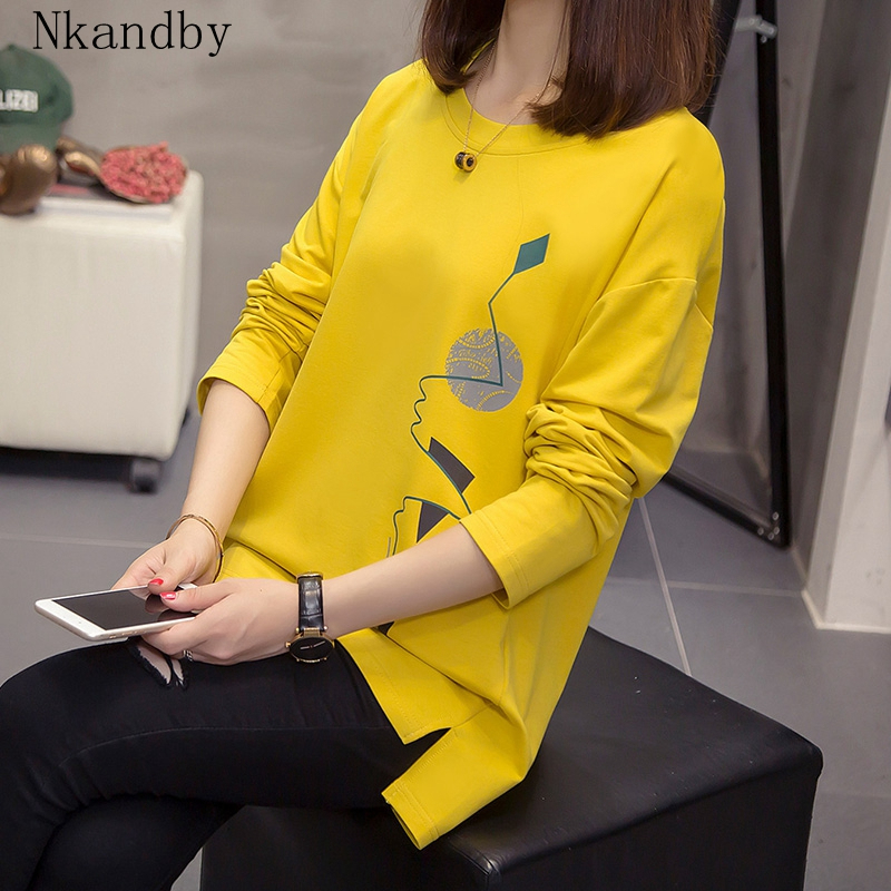 Nkandby Plus Size Women T-shirts Autumn Clothes Loose Graphic Tees Shirts Oversized Split Long Sleeve Print Korean Lady Tshirts