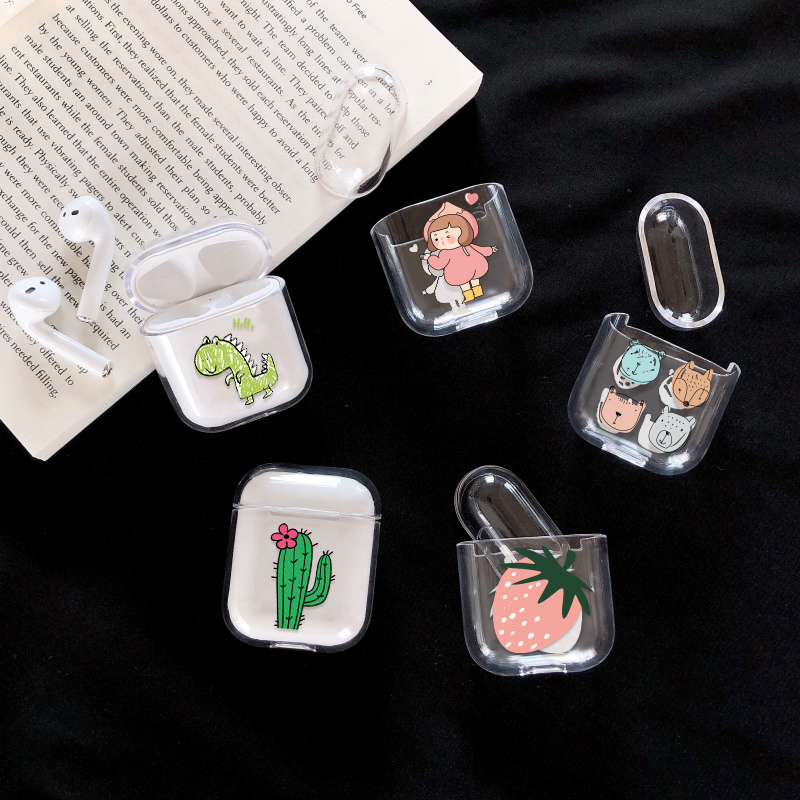 For Airpods Cases Hard PC Transparent Earphone Cases For Apple AirPods 1 2 Charging Box Cute Cartoon Cactus Crystal Cover Bag