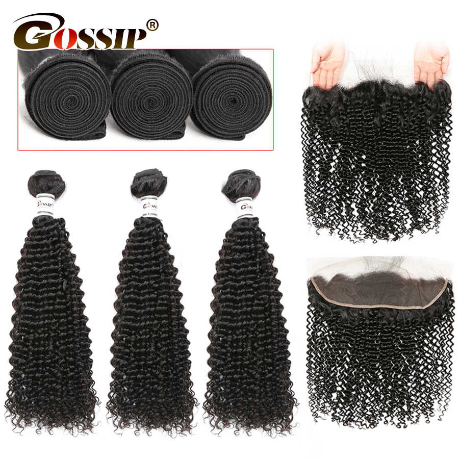 Brazilian Hair Weave Bundles With Frontal Kinky Curly Human Hair Bundles With Closure 13x4Lace Frontal Closure With Bundles Remy