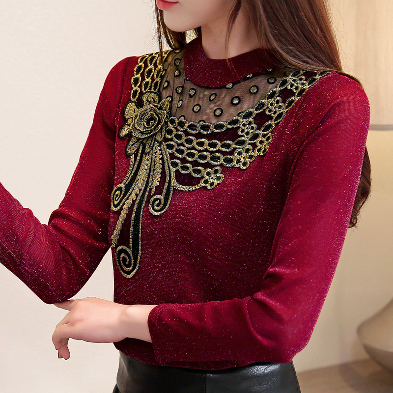 New Women 2019 Autumn Winter Blouse Mesh Shirt Fashion Warm Top Office Velvet Thick Lace Shirts Spring Blouses Plus Size Tops