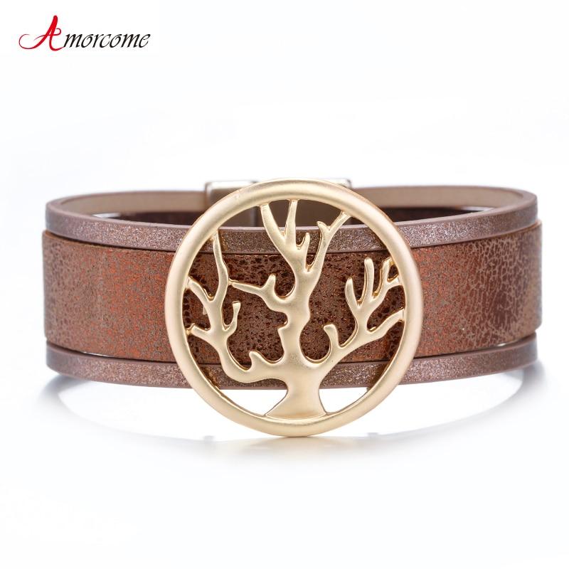 Amorcome Tree Of Life Charm Leather Bracelets For Women 2020 Fashion Trendy Cuff Wide Wrap Bracelet Female Jewelry|Wrap Bracelets|   - AliExpress