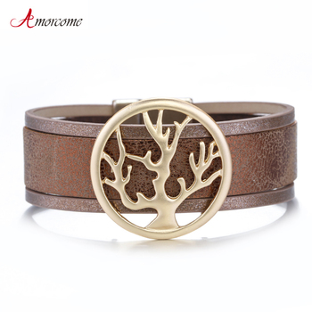 Amorcome Tree Of Life Charm Leather Bracelets For Women 2020 Fashion Trendy Cuff Wide Wrap Bracelet Female Jewelry allyes tree of life charm pearl leather bracelets for women fashion ladies bohemian multilayer wide wrap bracelet female jewelry