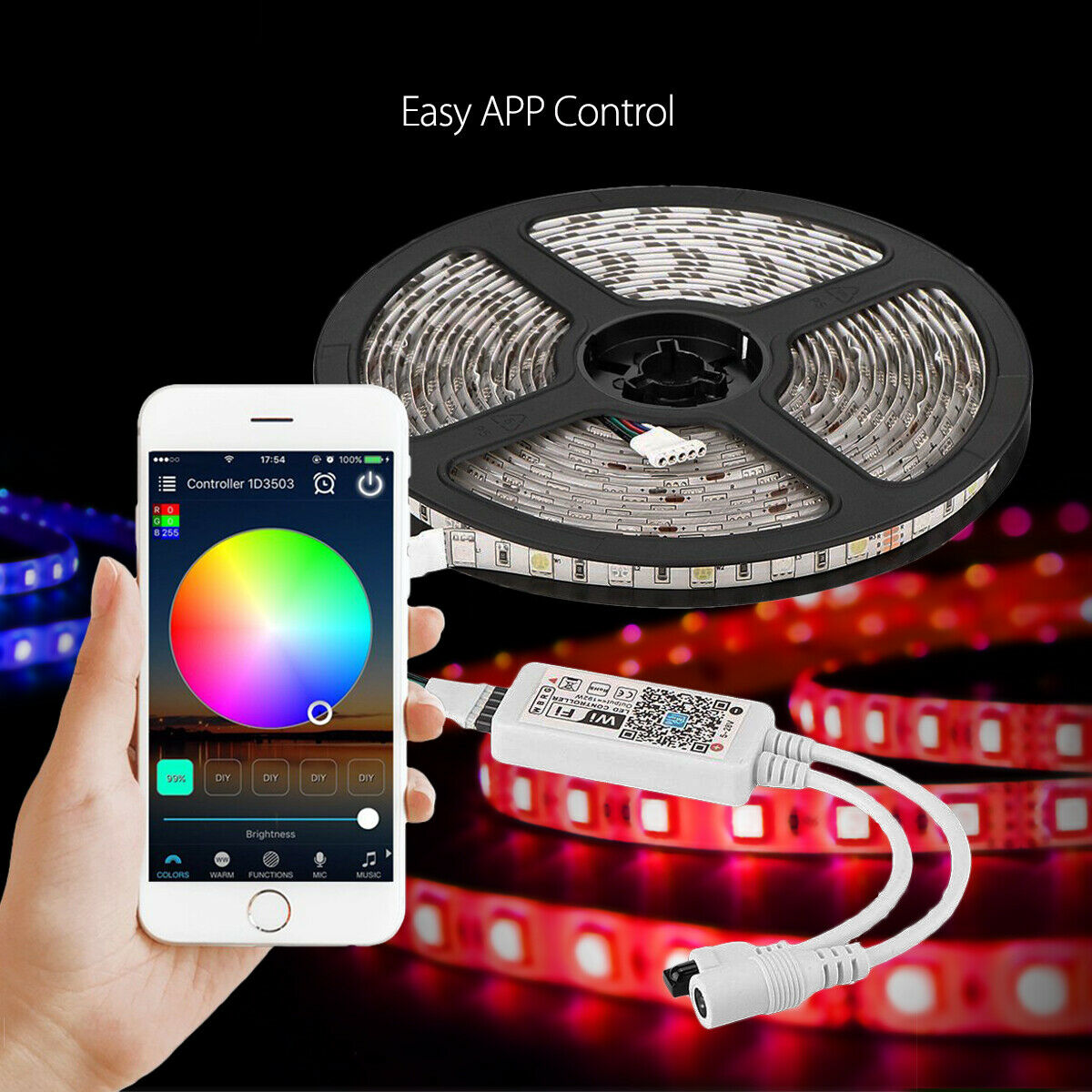LED Strip Light Kit Smart WiFi Wireless Smart Phone Control Stage Decorative Fairy Light Outdoor Wire Lamp D30