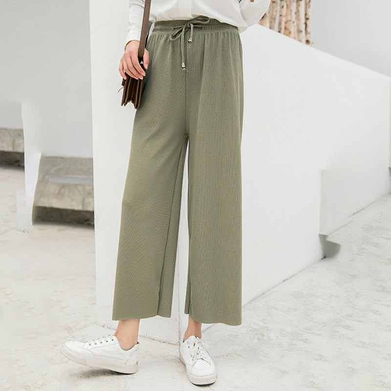 Wanita Musim Panas Versi Korea Baru dari Drape Longgar Lebar Kaki Celana Warna Solid Elastis Tinggi Pinggang Dasi Lurus Kasual celana. W