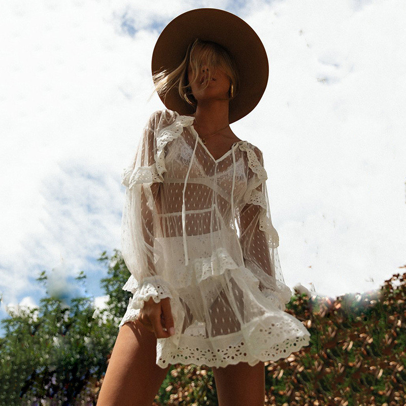 Fashion Women Boho Summer Beach Loose Mesh Lace Dress Elegant Ruffles Ladies Long Sleeve Kaftan See Through Dress Beachwear