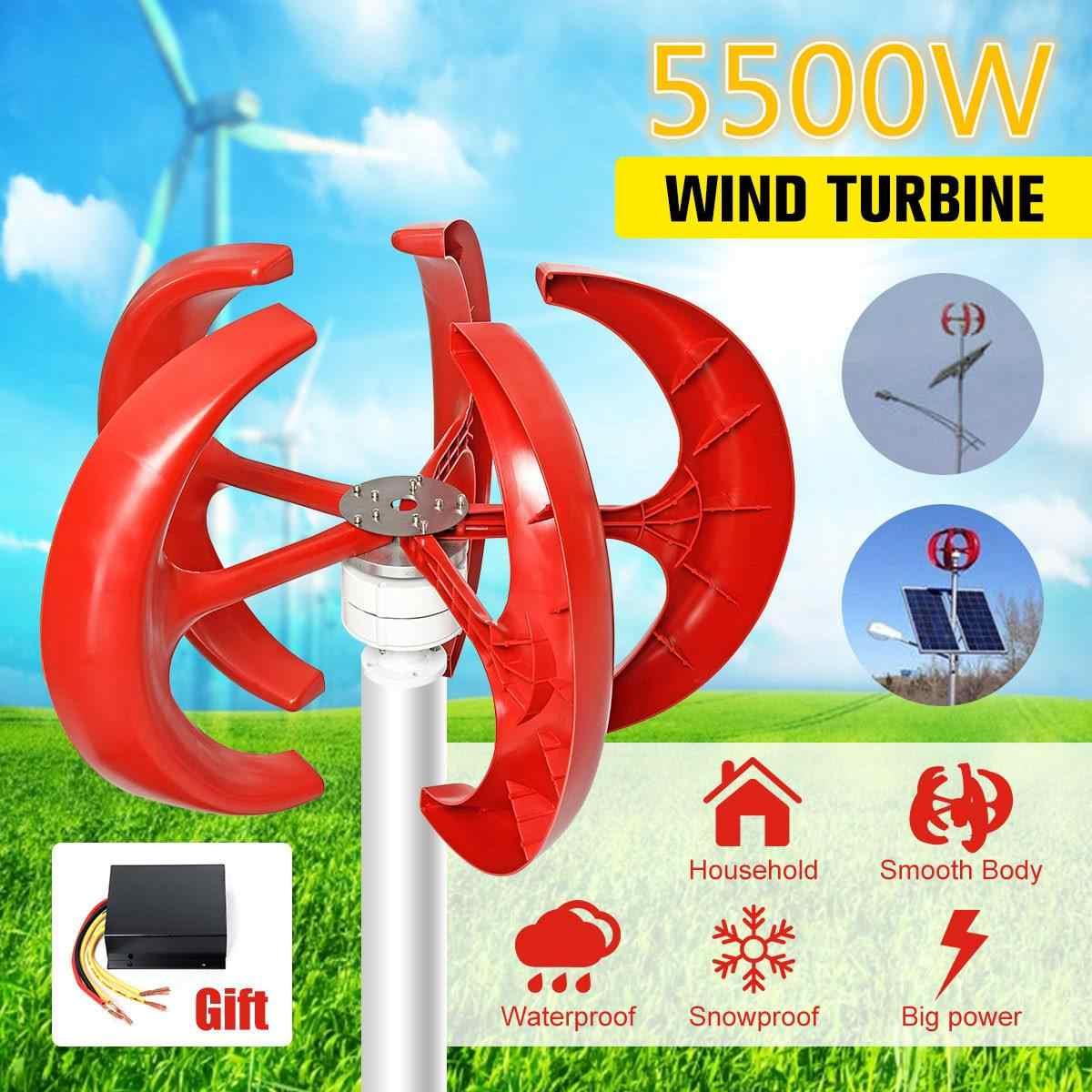 5500 واط 12 فولت 24 فولت 5 شفرات الرأسي Axi توربينات الرياح مولد فانوس معدات موتور الكهرومغناطيسية للاستخدام المنزلي ضوء الشارع