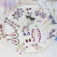 Романтические длинные висячие серьги с фиолетовым кристаллом
