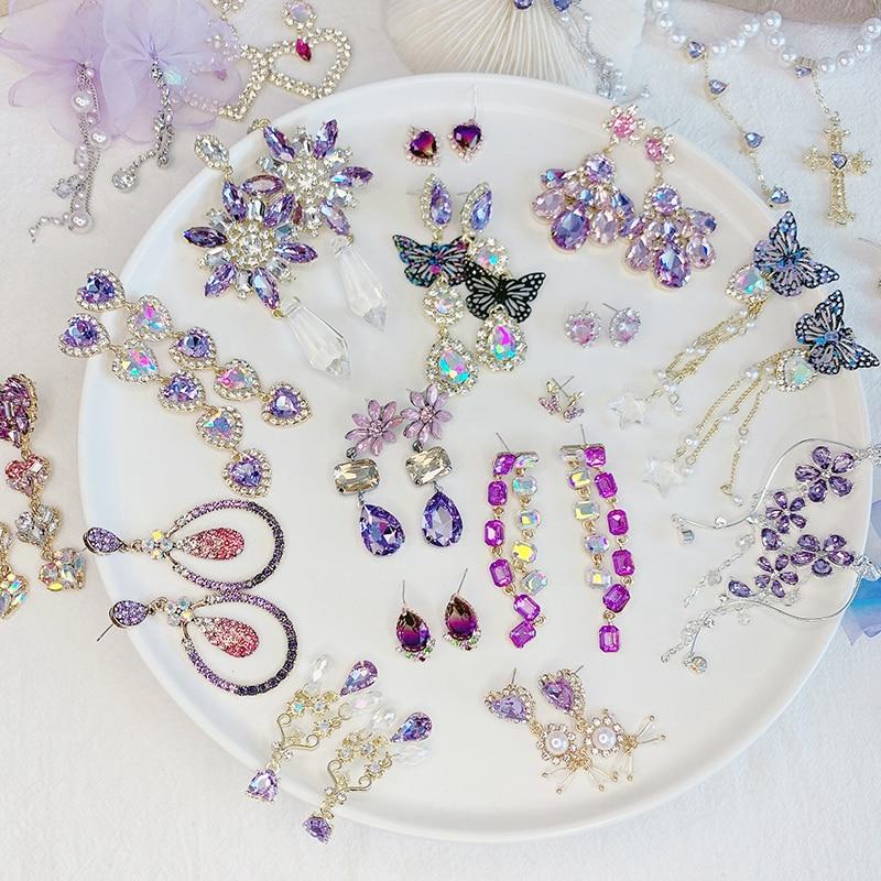2020 Romantic Purple Crystal Long Drop Earrings Shining Rhinestone Flower Water Drop Dangle Earrings Elegant Fine Charm Jewelry