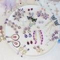 2020 romantische Lila Kristall Lange Tropfen Ohrringe Glänzende Strass Blume Wasser Tropfen Baumeln Ohrringe Elegante Feine Charme Schmuck