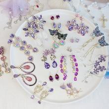 Pendientes de gota largos de Cristal púrpura romántica, pendientes de flor brillantes con diamantes de imitación, joyería colgante delicado elegante 2020