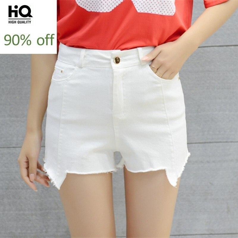 Asymmetry New Fashion Jeans Summer Womens High Waist Casual Straight High Street Shorts Female Slim Zipper White Denim Trousers